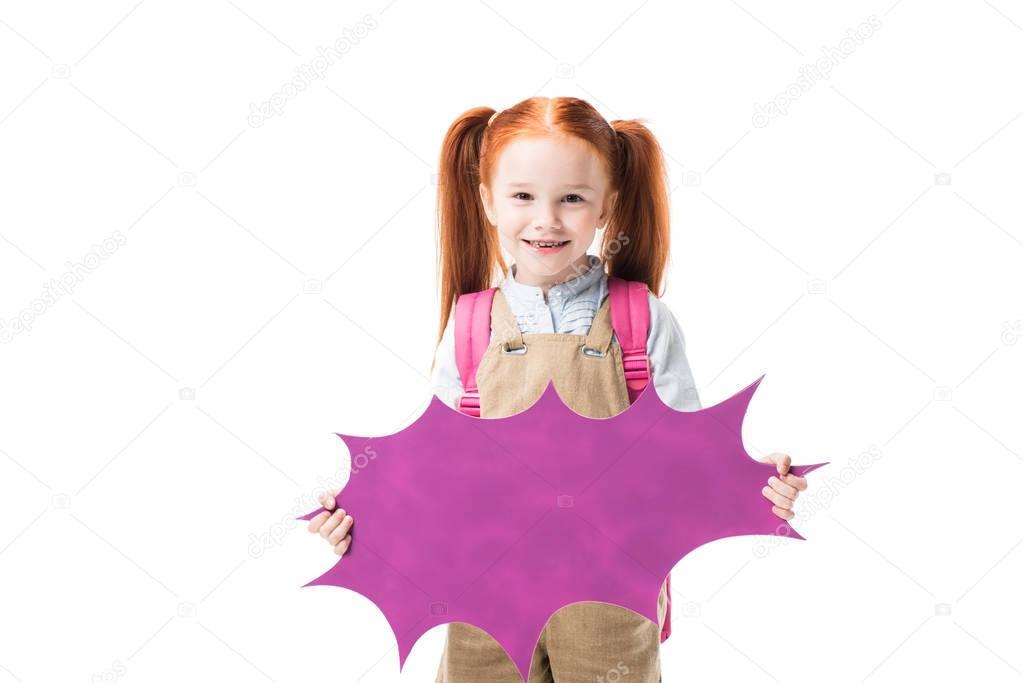 Schoolgirl holding speech bubble