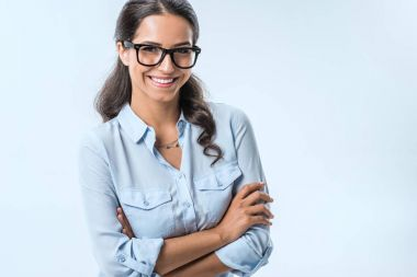smiling businesswoman in eyeglasses