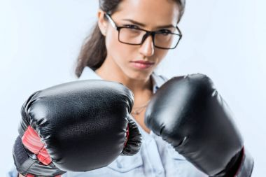 businesswoman in boxer gloves