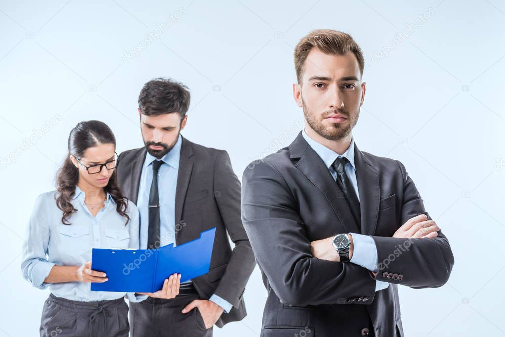 businessman with colleagues during work