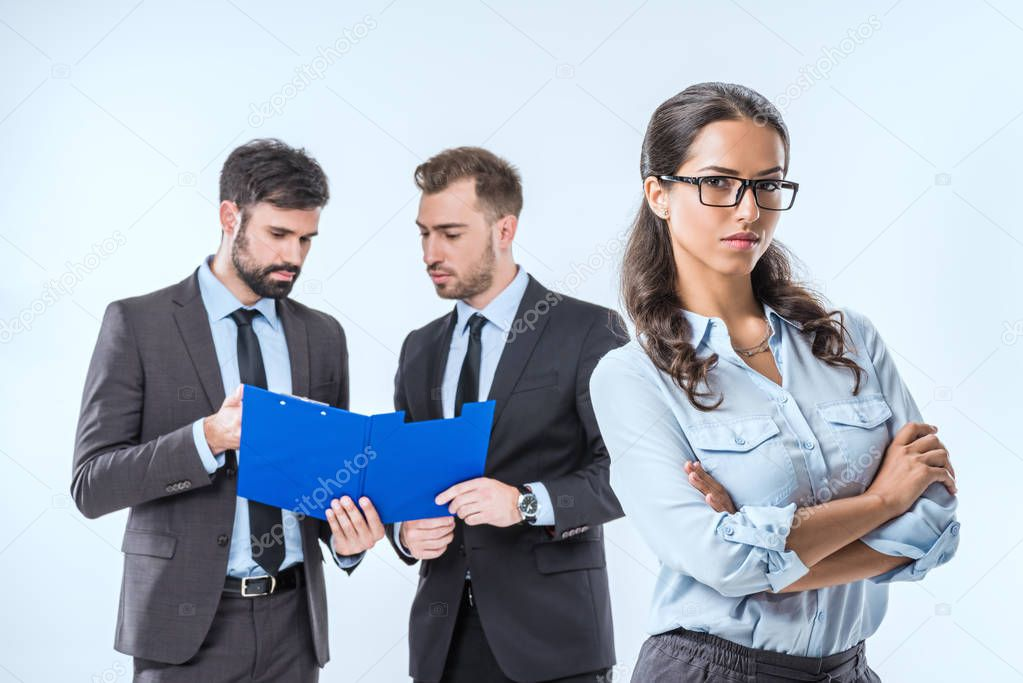 Businesswoman with colleagues during work