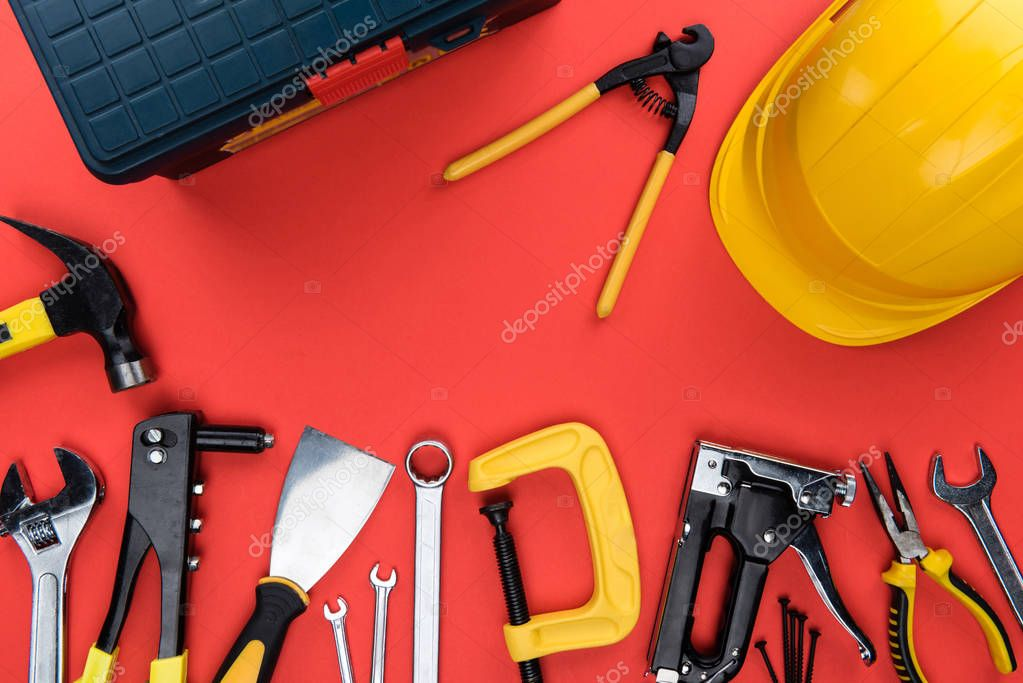 reparement tools and hard hat