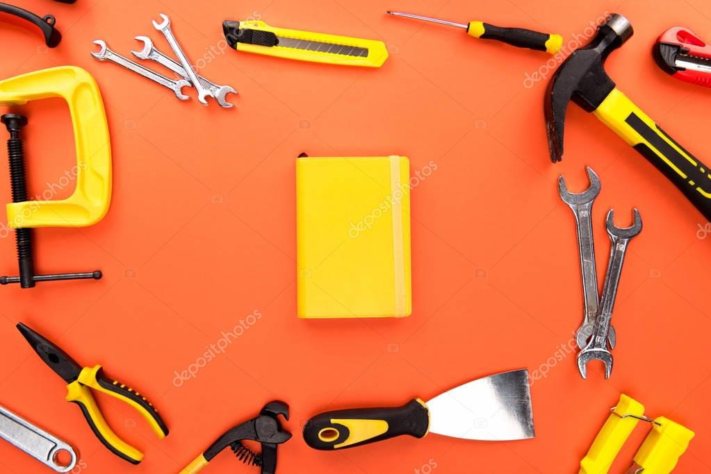 reparement tools and notebook