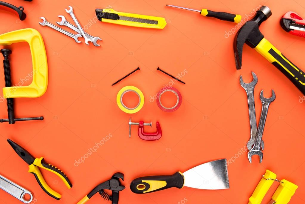 Smiley face made of tools