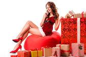 Fotografie sexy Santa Mädchen mit Geschenken