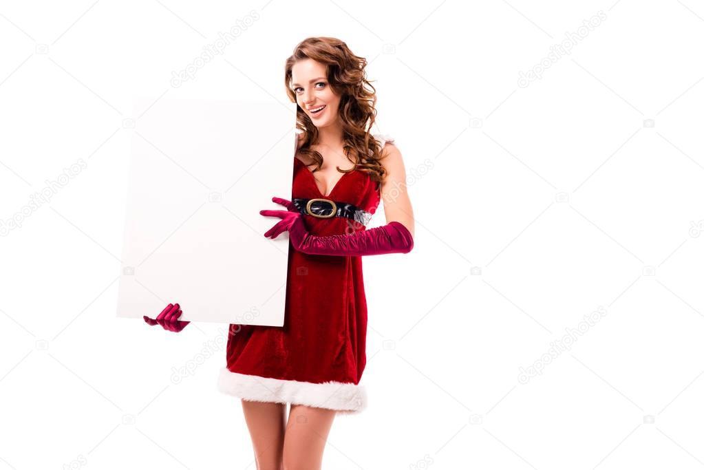 santa girl with empty card