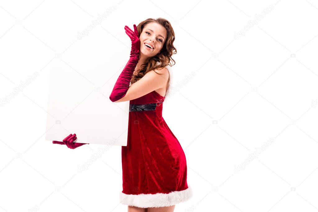 santa girl with empty placard