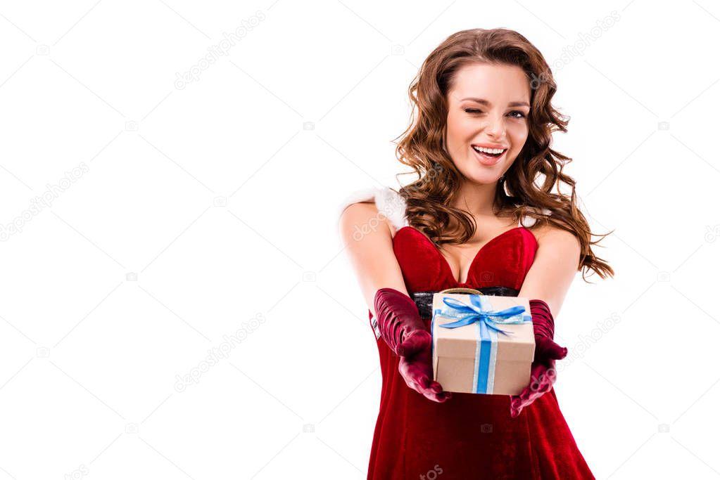 winking santa girl with present