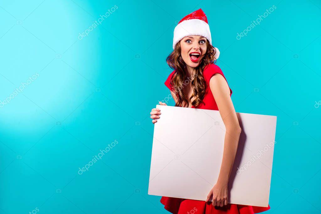 santa girl with blank board