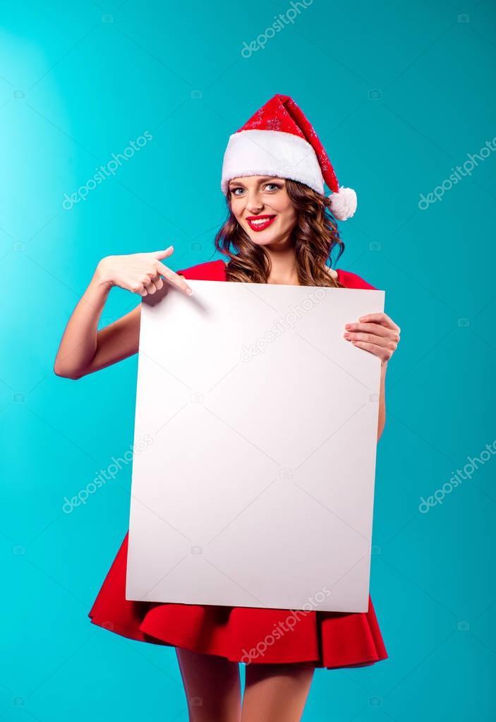 santa girl with blank card