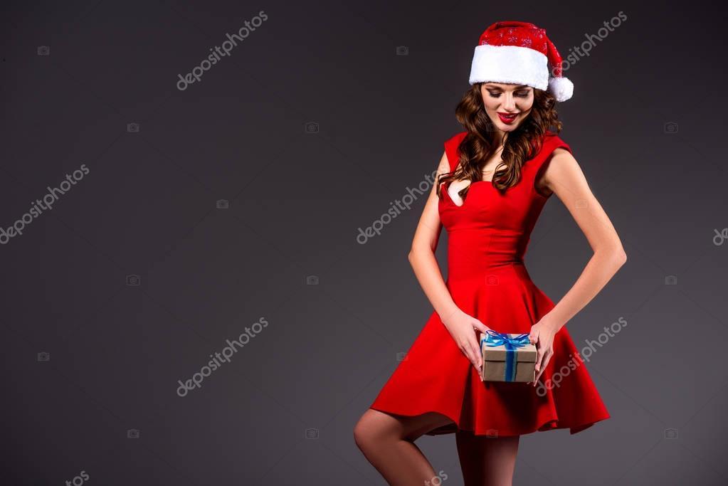 santa girl with gift