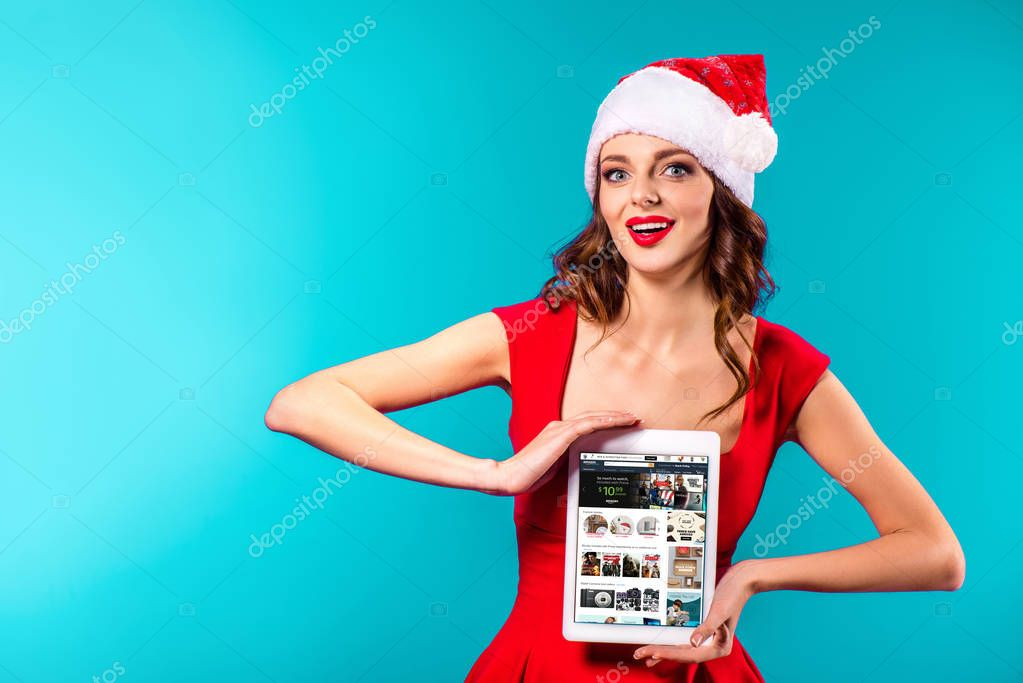 tablet and amazon website on christmas