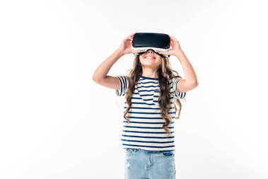 kid watching something with VR headset