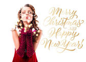 Fényképek Santa lány fúj csók