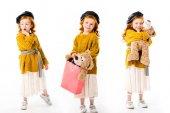 Fotografia Collage con elegante bambino in piedi con orsacchiotto in pose differenti su bianco