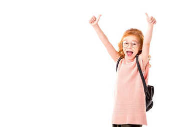 Red hair kid with backpack showing thumbs up isolated on white stock vector