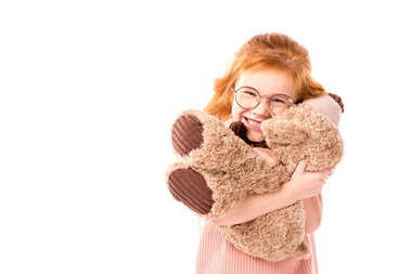 Red hair kid hugging teddy bear isolated on white stock vector
