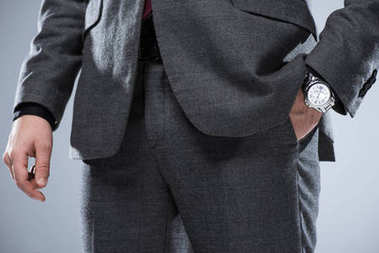 Close up of businessman in formal suit with hand in pocket, isolated on gray