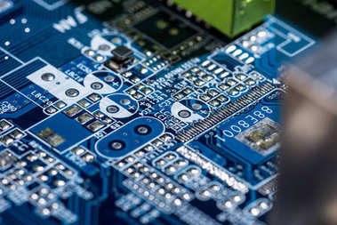 selective focus of computer motherboard various details