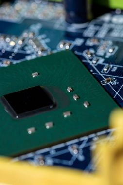 selective focus of computer motherboard chip and other details