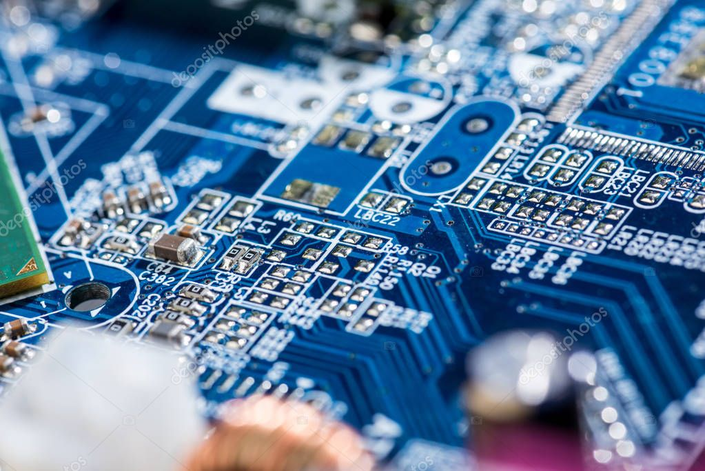 close up view of computer motherboard elements