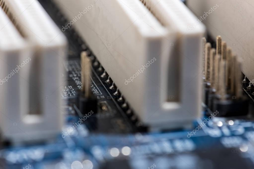 close up view of computer motherboard ports