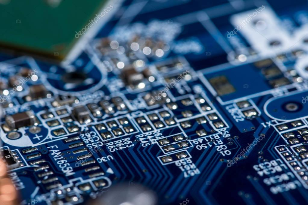 selective focus of various details of computer motherboard