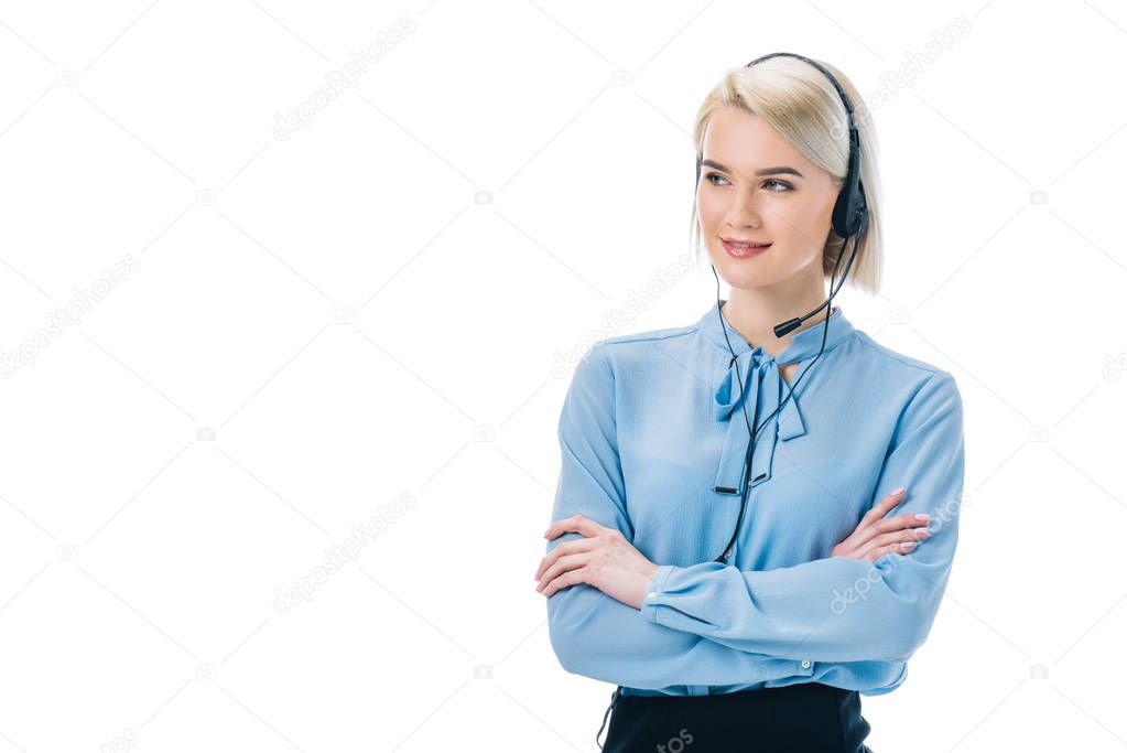 beautiful operator with crossed arms working in headset, isolated on white
