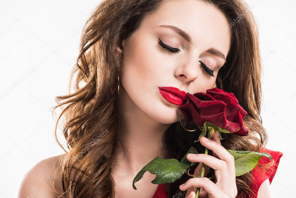 stylish sensual girl touching face with rose isolated on white, valentines day concept