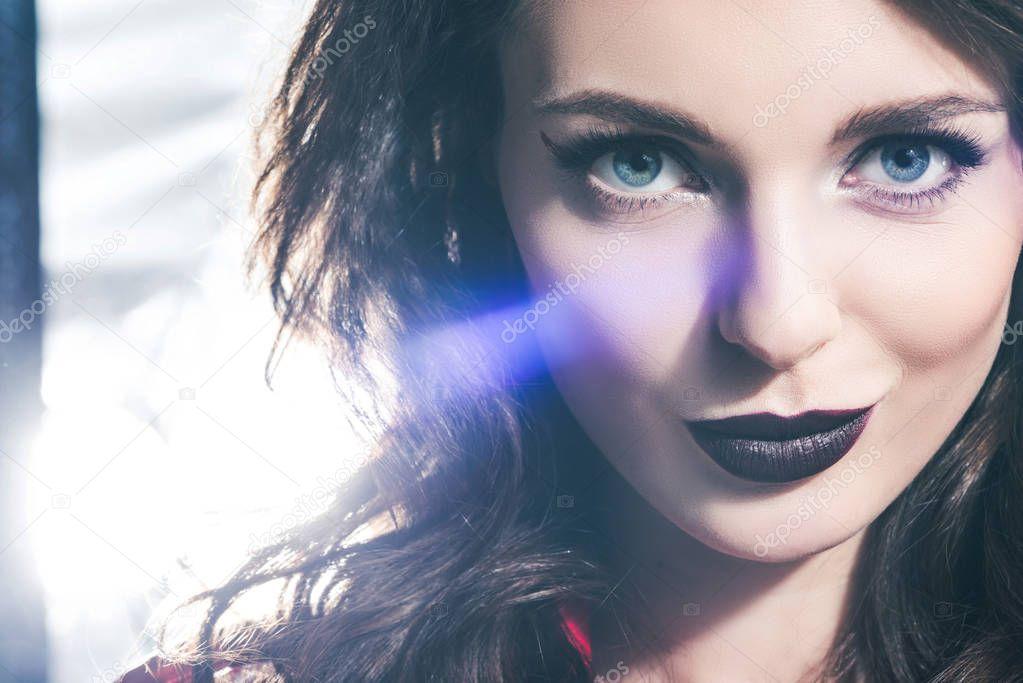 Headshot of beautiful girl with dark lips looking at camera stock vector