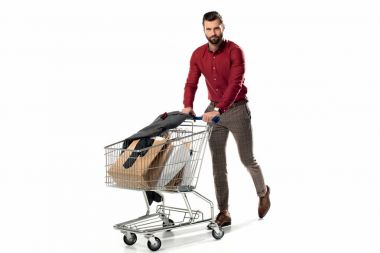Man with shopping cart full of shopping bags and jacket isolated on white stock vector