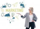 szép stílusos üzletasszony bemutató marketing ikonok, elszigetelt fehér