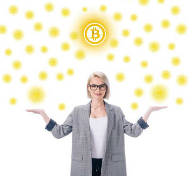 attractive elegant businesswoman with bitcoin symbol isolated on white