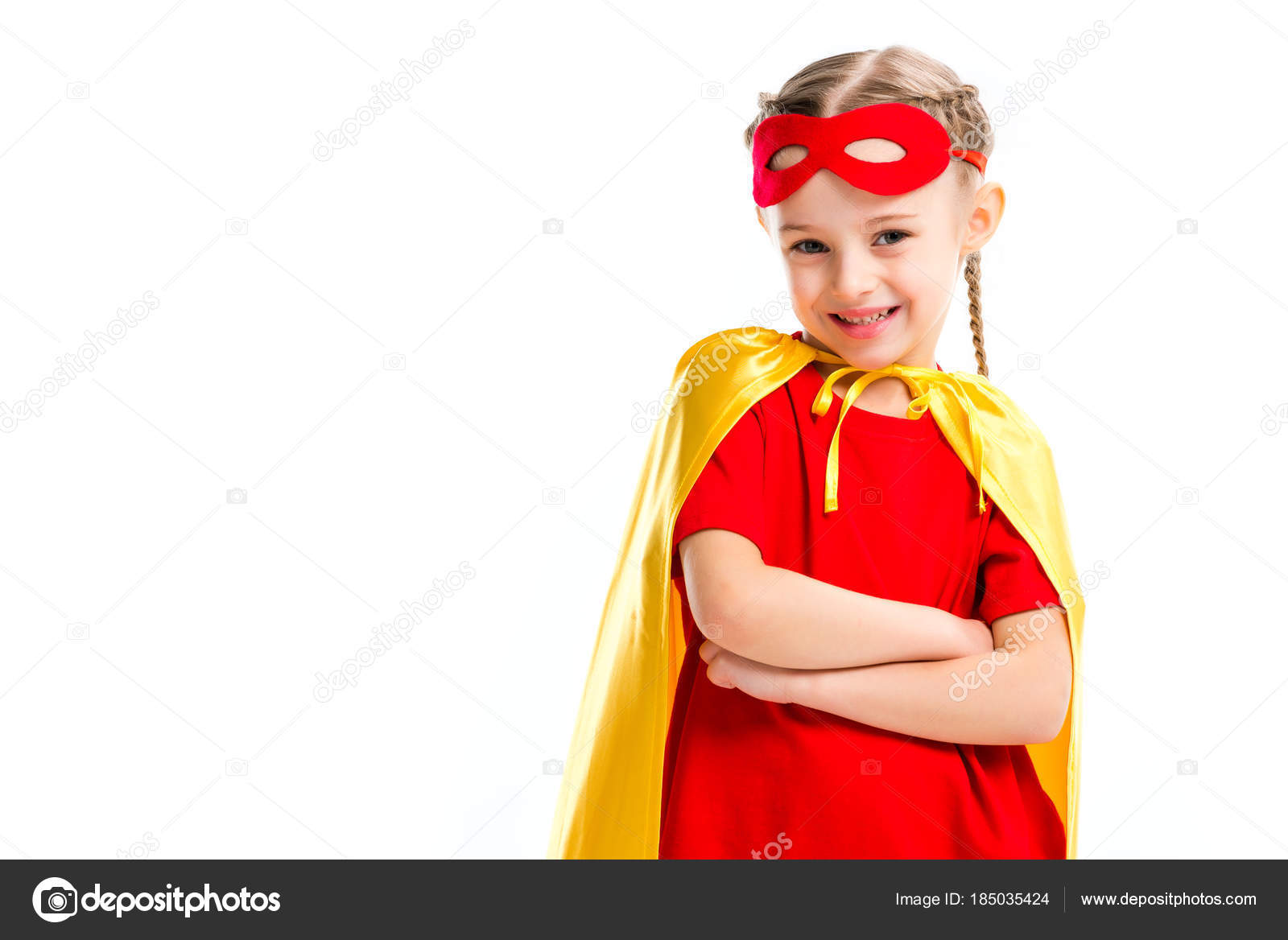 Excited little supergirl wearing yellow cape with red mask for eyes on forehead isolated on white u2014 Photo by EdZbarzhyvetsky  sc 1 st  Depositphotos & Excited Little Supergirl Wearing Yellow Cape Red Mask Eyes Forehead ...