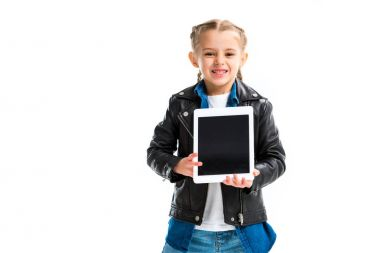 Excited little child with pigtails holding digital device on hands isolated on white