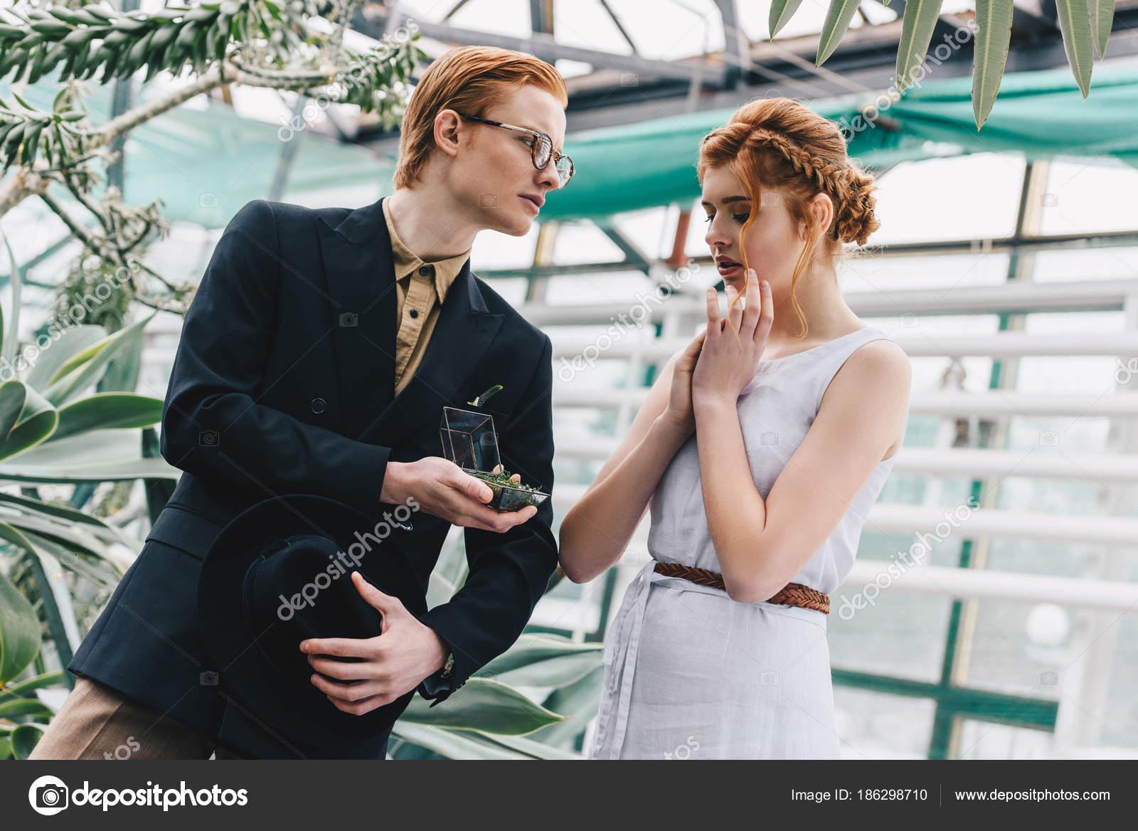 Stylish Young Man Jewelry Box Making Proposal Beautiful Surprised