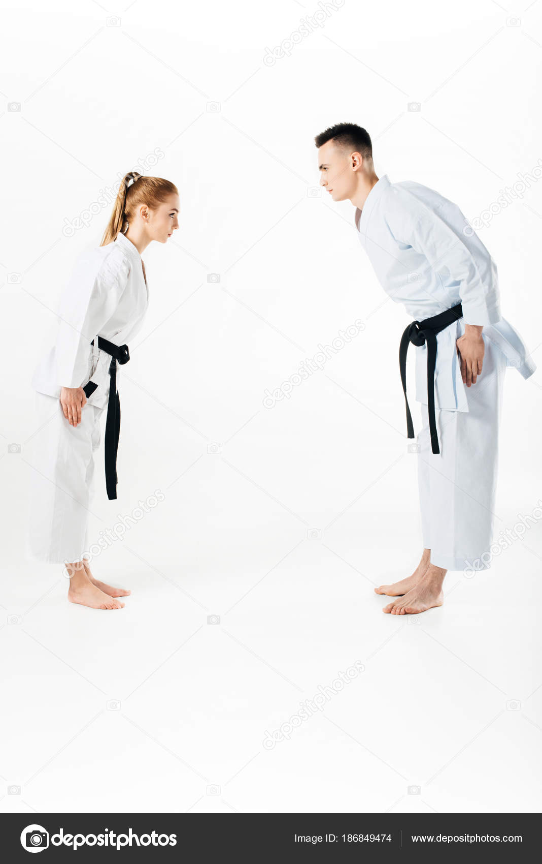 Karate fighters greeting each other isolated white stock photo karate fighters greeting each other isolated white stock photo m4hsunfo