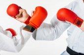 körülvágott kép karate harcosok képzés elszigetelt fehér kesztyű