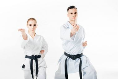 karate fighters with black belts training isolated on white