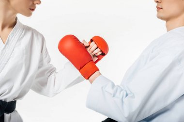 Cropped image of karate fighters touching with gloves isolated on white stock vector