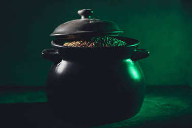 close-up view of pot full of gold, st patricks day concept