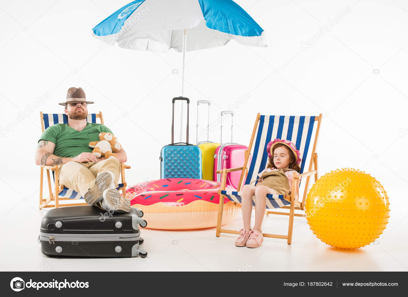 Father Daughter Hats Sleeping Sun Loungers Isolated White Travel Concept —  Stock Photo eea7c5bedd0