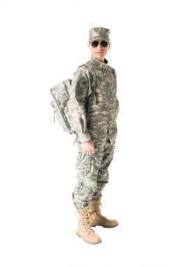 Army soldier wearing uniform and sunglasses isolated on white stock vector