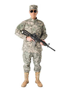 Army soldier in uniform holding gun isolated on white