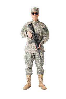 Serious army soldier with gun isolated on white stock vector