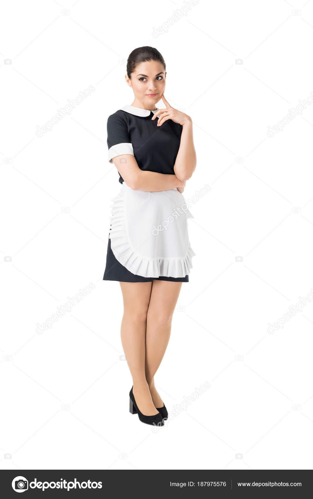 femme m nage brune uniforme professionnel main par visage isol sur photographie. Black Bedroom Furniture Sets. Home Design Ideas