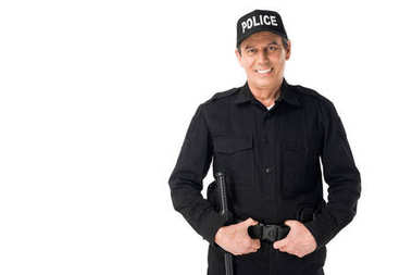 Smiling policeman in uniform and cap isolated on white