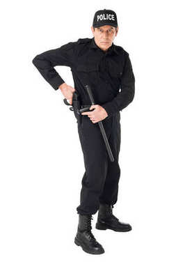 Confident policeman in uniform pulling out gun isolated on white stock vector