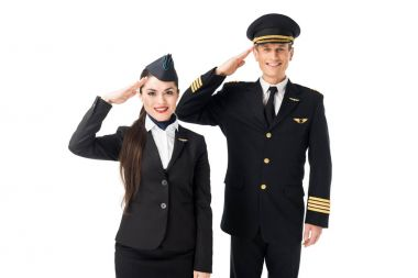 Young stewardess and pilot saluting isolated on white stock vector