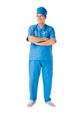 Smiling male doctor with stethoscope standing with arms folded isolated on white